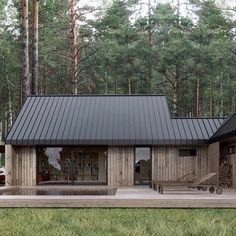 Gorgeous house with that wood and metal contrast Cabin Design, Small House Design, Weekend House, Tiny House Cabin, Forest House, Home Fashion, House In The Woods, Style At Home, Exterior Design