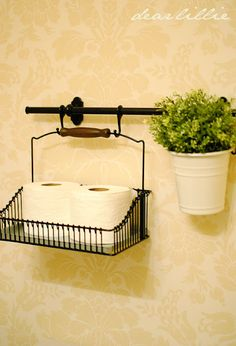 like this IKEA basket idea for the bathroom.