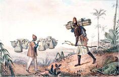 Vendedores de palmito e de samburás, 1834-1839 Jean-Baptiste Debret ( França, 1768-1848) Gravura baseada em aquarela, original c. 1825...