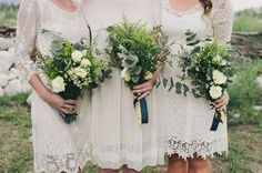 ivory lace dresses and green/white bouquets (on Miss Moss)