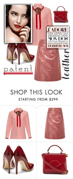 """the spirit of fashion"" by nineseventyseven ❤ liked on Polyvore featuring Gucci, Bottega Veneta, Rupert Sanderson, Lulu Guinness, Pink, red, patentleather, burgundy and pencilskirt"