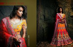 Beautiful collection of Netted Wedding Lehenga with heavy embroidery work en-crafted in Orange color. Along with Contrast Matching Netted Duppatta and Blouse.