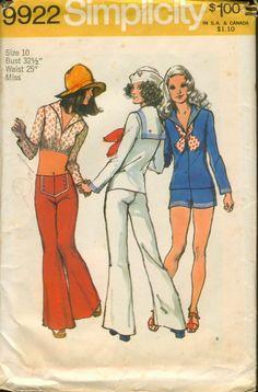 Simplicity 9922 ©1972 Sailor Blouse, Top, Hip-Hugger Shorts, Bell-Bottom Pant