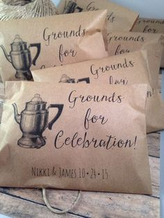 Coffee Favor Bags- Wedding Favors – Bridal Shower Coffee Favors- Coffee Bean Espresso Favors – Set of 25 printed paper bags Vintage Wedding Coffee Favor Bags, Grounds for Celebration Custom Wedding Favors, Recycled Brown Paper Personalized Printed Sack Coffee Favors, Coffee Wedding Favors, Creative Wedding Favors, Custom Wedding Favours, Wedding Gifts For Guests, Wedding Favor Bags, Wedding Favors For Guests, Brunch Wedding, Wedding Puns
