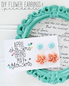 DIY Flower Earrings and Free Printable Cards