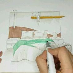 Interior Architecture Drawing, Interior Design Renderings, Architecture Concept Drawings, Drawing Interior, Interior Sketch, Home Interior Design, Architecture Design, Interior Design Presentation, Marker