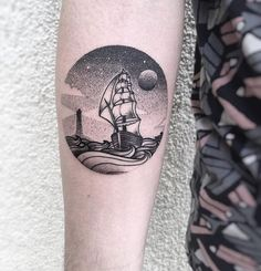 water & moon dotwork