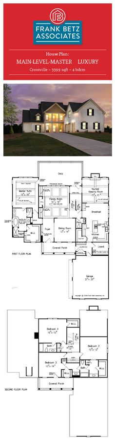 Crossville: 3399 sqft, 4 bdrm, main-level-master Luxury house plan design by Frank Betz Associates Inc.
