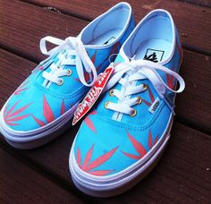 d42e0dbec6 Blue Peach Marijuana Leaf Custom Vans. Vans Off The Wall