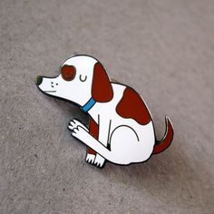 Dog dragging bum enamel pin funny nasty spotted dog lapel pin