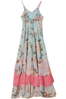 Flounce Splicing Floral Print Maxi Dress