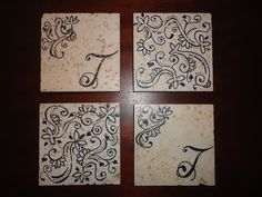 Leftover tile from the Habitat Restore + a sharpie = Personalized COASTERS! I sprayed my tiles with clear spray paint sealer once I was done and glued fun foam to the bottom to keep it from scratching the furniture.