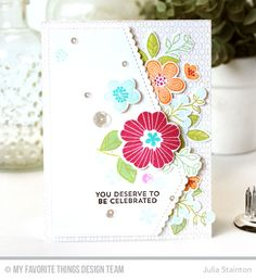 Bold Blooms Stamp Set and Die-namics, Lined Up Dots Background, Stitched Scallop Basic Edges Die-namics - Julia Stainton  #mftstamps