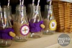 PB Party Custom Milk Bottles by Giggles Galore