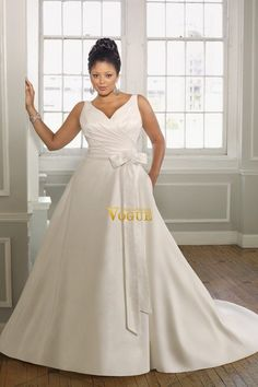 Online shopping Plus Size Wedding Dresses A Line V neck Sweep Brush Train Satin PPQ51PMB affordable in vogue for each occasion. Latest design of  cheap formal dresses & wedding gowns on sale for fashion women and girls.