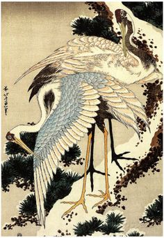 Katsushika Hokusai Two Cranes on a Pine Covered with Snow Art Poster Print Posters at AllPosters.com