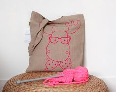 Deer Tote Bag - Reindeer with glasses and a bowtie shopping bag - Woodland canvas bag    Go greener with this natural linen tote bag with a neon pink