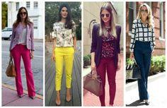 como combinar jeans colorido com blusa