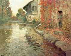 Paintings by Norwegian Painter Frits Thaulow...Landscape at Elv, France,1886