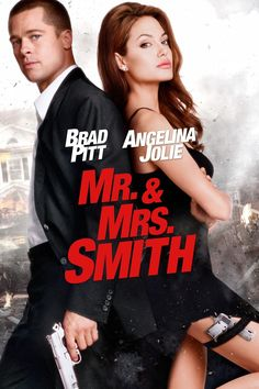 Mr. & Mrs. Smith (2005) PG 13  -  A bored married couple is surprised to learn that they are both assassins hired by competing agencies to kill each other.  -   Director: Doug Liman  -   Writer: Simon Kinberg  -   Stars: Brad Pitt, Angelina Jolie, Adam Brody  -  ACTION / COMEDY / CRIME