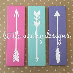 Tribal Arrows Nursery Decor: Set of 3 >>  PICK YOUR COLORS! Dark Espresso stained OR painted in your color choice - solid wood signs with white arrows. Many colors available - message me with specific inquiries. Sealed with a matte finish Sawtooth hanger on back - ready to hang  >> SIZE Set of 3: 3.5 wide x 12 long (each sign) >> PRODUCTION Made to order within 2-6 business days Custom orders always welcomed  >> SHIPPING I ship via Priority Mail in the US First class mail internationally…