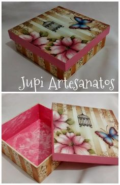 Discover thousands of images about Vintage romantic decoupage Decoupage Vintage, Decoupage Box, Painted Wooden Boxes, Hand Painted Furniture, Fun Crafts, Diy And Crafts, Altered Cigar Boxes, Creative Box, Pretty Box