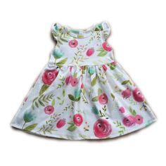 Pink Rosette Flutter Sleeve Swing Dress