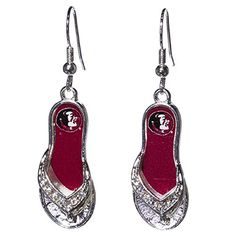 cad02f4bbba6af Florida State Seminoles 1.25 Inch Licensed Silver Toned Flip Flop Earrings  Sports Team Accessories http