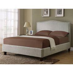 $557 Monarch Specialties Inc I 5901Q Light Grey Queen Size Bed - Home Furniture Showroom