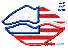 4th of July Lips Patriotic Applique Design for Face Masks shirts Embroidery Digital Pattern 4x4 5x7 6x10 INSTANT DOWNLOAD Shirt Embroidery, Machine Embroidery Applique, Machine Applique Designs, Different Types Of Fabric, Digital Pattern, Appliques, 4th Of July, Pattern Design, Lips