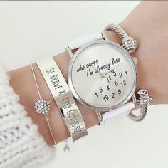 WATCH: http://www.glamzelle.com/collections/jewelry-watches/products/who-cares-im-already-late-print-watch-5-colors-available