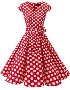 DRESSTELLS Retro 1950s Cocktail Dresses Vintage Swing Dress With Cap-Sleeves Red White Dot L