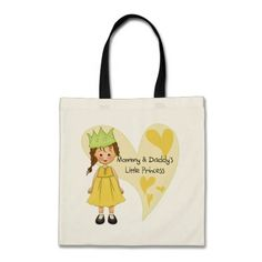 Brown Hair Mommy and Daddy's Princess Tote Bag