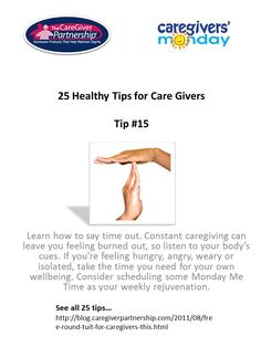 Tip #15 of 25. Tips for caregivers
