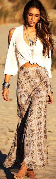 bohemain white shoulderless blouse, long beige skirt, maxi boho jewelry