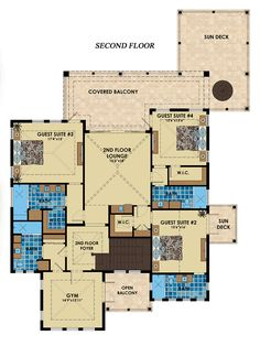 Florida Mediterranean House Plan 71538 Level Two