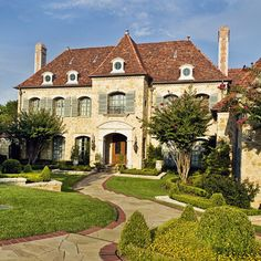 Private Residence - Country French - traditional - exterior - dallas - by Fusch . - Private Residence – Country French – traditional – exterior – dallas – by Fusch Architect - French Country Exterior, Country Home Exteriors, Modern French Country, Country House Design, French Country House, French Country Decorating, Home Design, Modern Design, Country Houses