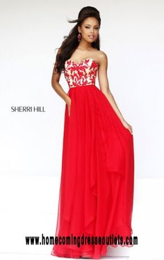 2016 Cheap Red Sweetheart-Neck Sherri Hill 1924 Layered Long Lace Prom Dresses…