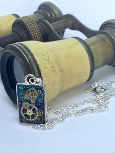 Timeless small blue rectangular pendant