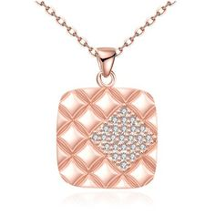 LEKANI+Rose+Gold+Plated+Zircon+Square+Shape+Pendant+Necklace
