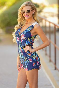 Got Your Back Romper - Navy