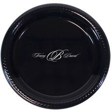 Formal Script Monogram Names Plastic Plates