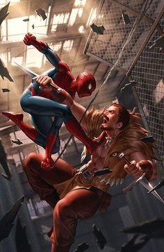 Spider-Man Vs Kraven by Jenggeun Yoon - Marvel Comics Comic Book Artwork Amazing Spiderman, All Spiderman, Batman, Spiderman Tattoo, Spiderman Drawing, Marvel Dc, Marvel Comics Art, Marvel Heroes, Rogue Comics