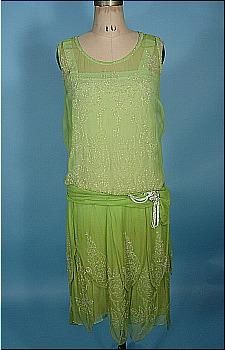 Beaded flapper dress, silk chiffon, 1926. Pretty beadwork, but the real story here is the color.