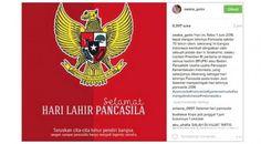 """""""Hari ini, Rabo 1 Juni 2016 tepat dengan lahirnya Pancasila sekitar 70 tahun silam. Sekarang ini bangsa Indonesia kembali diingatkan oleh sebuah pidato dari Ir. Soekarno, selaku mantan Presiden RI pertama di depan semua hadirin BPUPKI atau Badan Penyelidik Usaha-usaha Persiapan Kemerdekaan Indonesia, yang selanjutnya dikenang sebagai hari lahirnya Pancasila pada bulan Juni,"""" tulis Zaskia di akun Instagramnya, Rabu (1/6/2016)."""