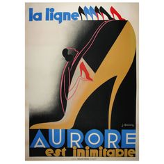 'La Ligne Aurore' Shoes  :  Original Art Deco Poster Artist - Chassaing.  Lithograph         France     c1930