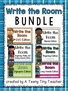 This Write the Room Bundle includes 6 different Write the Room products and includes over 350 cards covering different skills. Click on each link below to see what's included! Write the Room {Beginning, Middle, and Ending Sounds} Write the Room {CVC} Write the Room {Blends} Write the Room {Digrap...