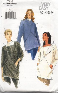 7116 Vogue Sewing Pattern Pullover Tunic Neckline Variations Sz 8-10-12 Uncut…