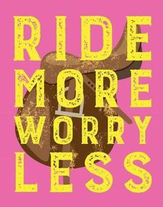Art Print: Ride More Worry Less - Pink by Sports Mania : 20x16in