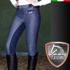 These Daslö by Tattini breeches are made in 2-way stretch 420 gr microfiber jersey, 70% polyester, 25% cotton, 5 % Spandex, The breeches feature a close fitting with a shaped seat and high suede knee patches in stretch Daewoo. The jetted front pocket and the crossed belt loops are finished in suede.